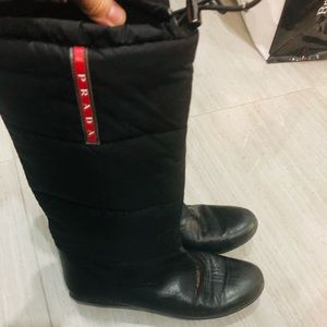 Prada leather and quilted black boots 37 GUC